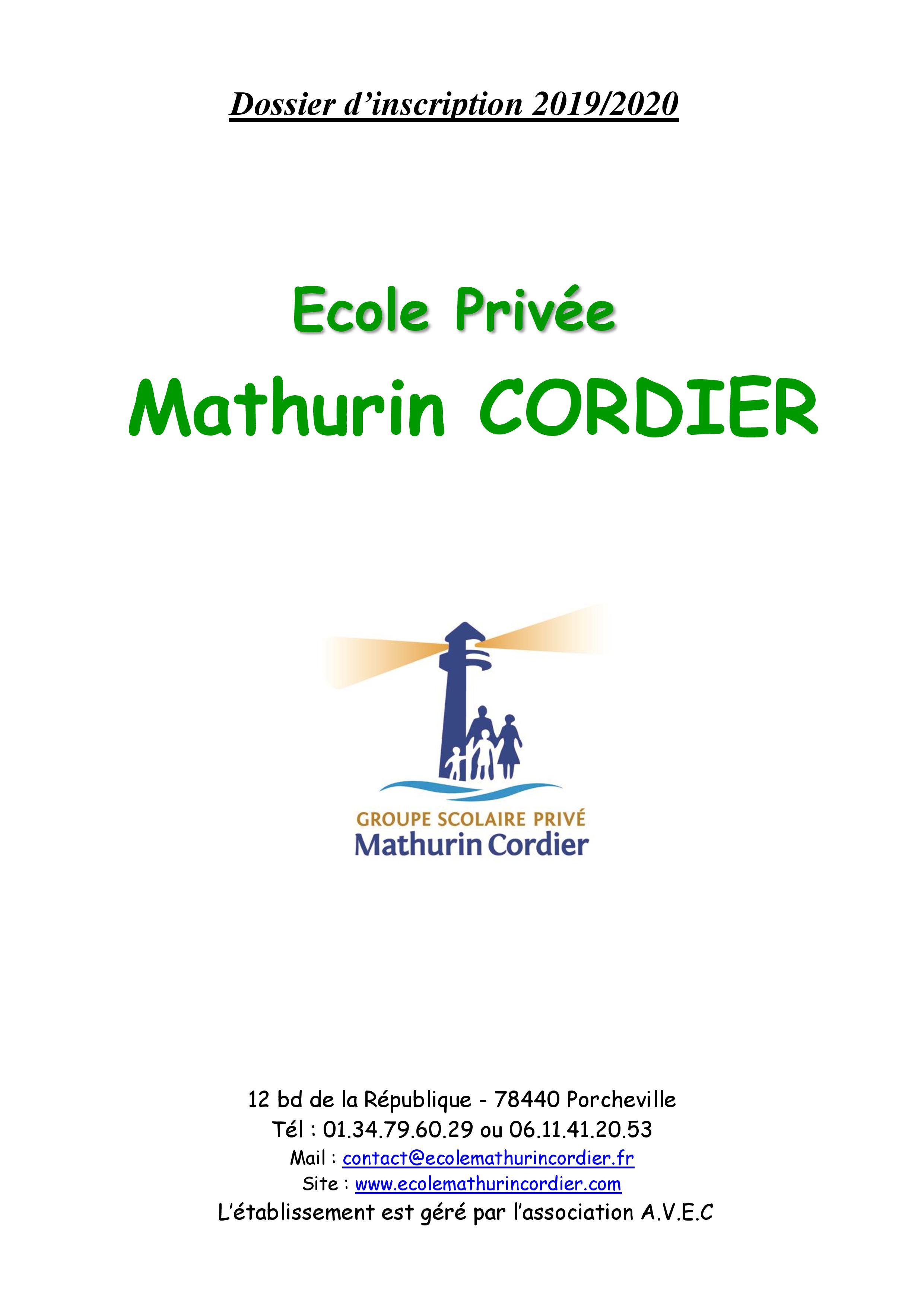 Page De Garde école Page 001 Groupe Scolaire Mathurin Cordier