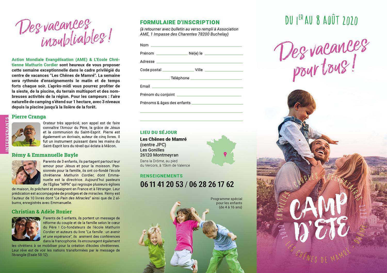 Du 1er au 8 août 2020 « des vacances pour tous » Flyer recto camp d  t   2020